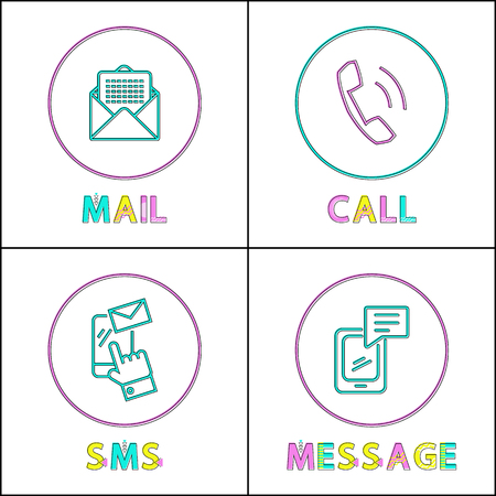 Ilustración de Modern means of communication outline icon set. Phone message and simple call, text sms and electronic mail to keep in touch small color sketch depiction. - Imagen libre de derechos