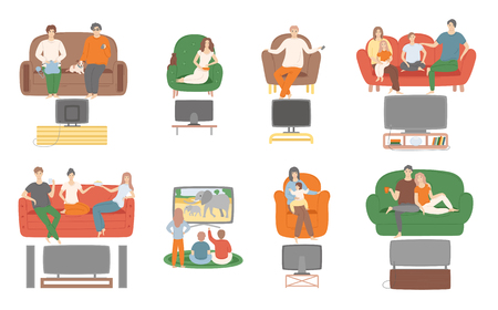 Illustration pour TV television watching, people sitting on couch enjoying film vector. Family and couples spending time at home looking at screen monitor entertainment - image libre de droit