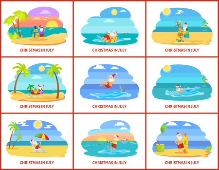 Illustration pour Christmas winter holiday celebrating in summer vector. Santa Claus character with presents and gifts in form of tree, surfing board and palm trees - image libre de droit