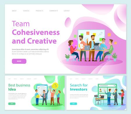 Ilustración de Team Cohesiveness and Creativity of Workers Staff - Imagen libre de derechos