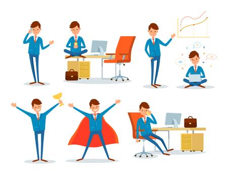 Illustration pour Man Working in Office, Business Superman Male Hero - image libre de droit