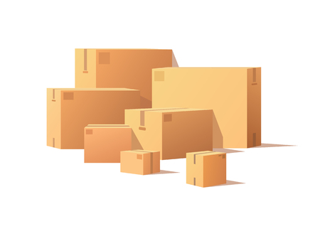 Illustration pour Realistic packages with adhesive tape isolated on white. Carton packs vector delivery icons. Pile of parcel boxes, stacked sealed goods in cardboard. - image libre de droit