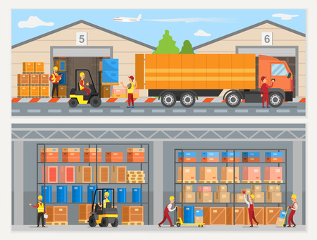 Ilustración de Warehouse workers with boxes and trucks loaders vector. People working at factory, logistics and transportation, goods shipment and delivery service - Imagen libre de derechos