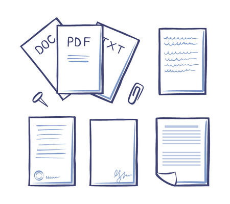 Ilustración de Office paper and documents, doc and pdf, txt and signature on bottom of pages vector. Paperclip and pin, publications and binder for documentation - Imagen libre de derechos
