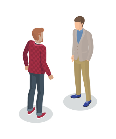 Illustration pour Photographer and client meeting 3d isometric icons of men. People person working as camerist professional cameraman and customer isolated on vector - image libre de droit