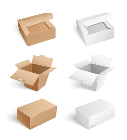 Illustration pour Packages and carton boxes isolated icons on whitebackground set vector. Containers with open caps, closed sealed cartons with adhesive tape, closed and open - image libre de droit