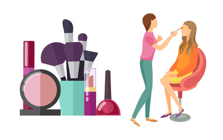 Illustration pour Visage makeup visagiste professional isolated icons vector. Mirror and brushes, foundation and lotions, palette of eyeshadow and lipstick for client - image libre de droit