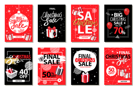 Illustration pour Christmas sale, discounts on winter holiday set vector. Marketing and promotion of exclusive products. Deals and offers of shops, sellout of goods - image libre de droit