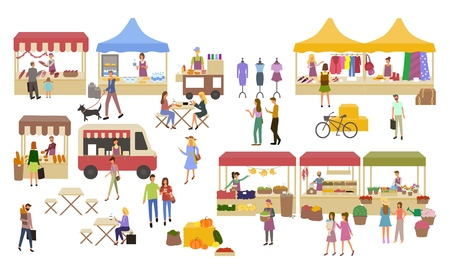 Illustration pour Marketplace, Stalls of Sellers and Shopping People - image libre de droit