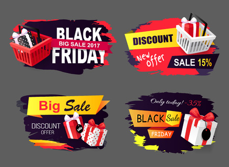 Big sale of black friday holiday, autumnal sellout vector. Discounts and sales, offers to customers, clearance commercial tricks. Gifts present boxes