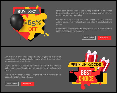 Buy now 65 percent discount, shop and store sale vector web site template. Landing page with text, inflatable balloon, commerce trading business promo