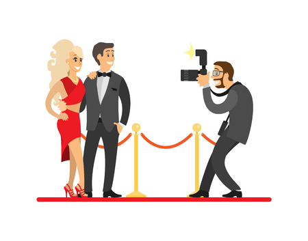 Paparazzi taking photo of celebrities couple on red carpet. Movie stars or singers and photographer with digital camera vector illustration isolated.