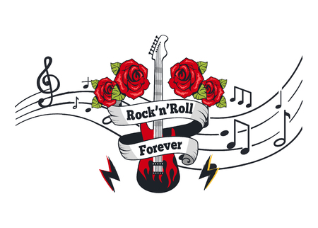 Illustration pour Rock n Roll Forever, Electric Guitar with Roses - image libre de droit