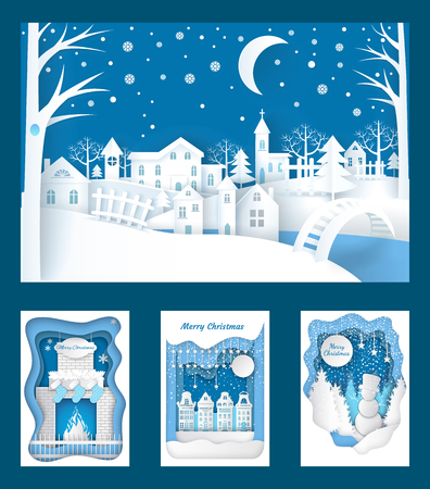 Ilustración de Merry Christmas paper cuts of town nature vector. Snowman wearing top hat in fir wood, fireplace with sock for gifts, city in evening. Snowing weather - Imagen libre de derechos
