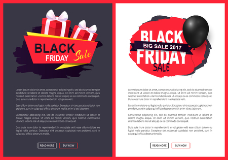 Black friday sale, discounts on autumn sellout vector. Presents and balloon, promotion of products and exclusive goods. Offers business propositions