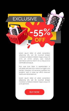 Exclusive products sellout 55 off price vector web site template. Presents and gifts in shopping basket, promotion and clearance of shops, sale goods