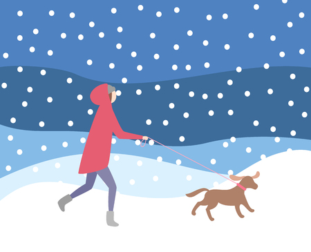 Illustration for Woman walking dog on leash in snowfall, wintertime activities vector. Lady wearing warming clothes, evening night blizzard, owner and canine doggy pet - Royalty Free Image