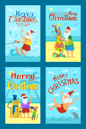 Illustration for Greeting card Merry Christmas with Santa Claus and monkey in red hat. Swimming and wakeboarding, making photos and fir-tree with snowman vector icons - Royalty Free Image