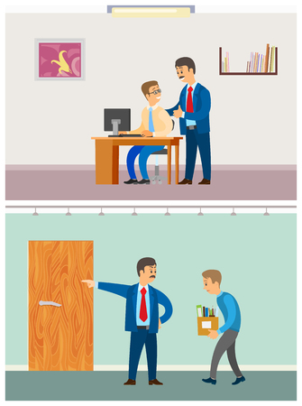Illustration pour Boss discharging employee, unemployed fired man with director pointing to exit vector. Angry chief, sacked worker, supervisor advising praising novice - image libre de droit