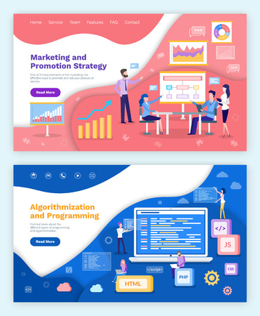 Illustration pour Marketing and promotion strategy, algorithmization and programming vector. Whiteboard with plan and charts , meeting of internet developers, coders - image libre de droit