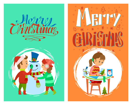 Merry Christmas holidays preparation of girl with cards and