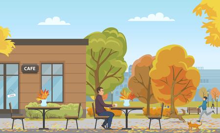 Illustration pour Man Drinking in Empty Cafe Autumn Season Vector - image libre de droit
