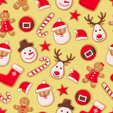 Illustration pour Gingerbread man cookies and Santa Claus candy seamless pattern vector. Christmas symbols winter holiday celebration, sock and hat, star and reindeer - image libre de droit