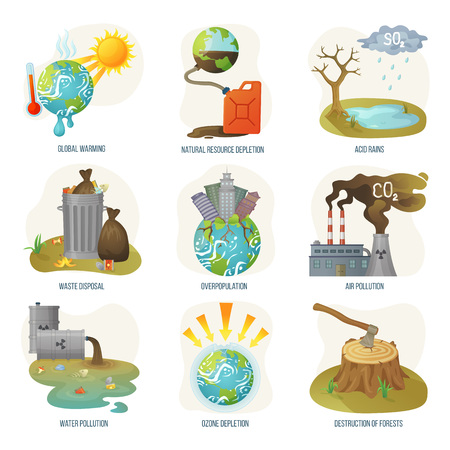 Illustration pour Global warming natural resource depletion problems vector. Waste disposal, air and water pollution, ozone layers and deforestation destruction forests. Environment problematic in flat style - image libre de droit