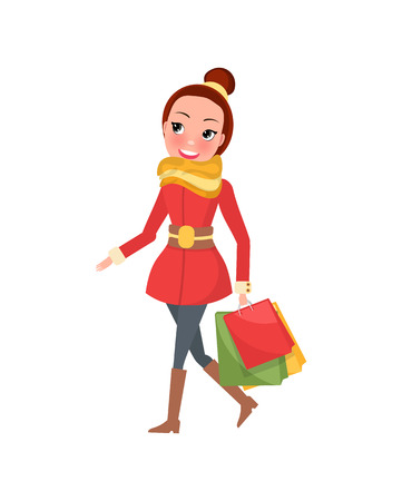 Ilustración de Christmas shopping day smiling and going woman with brown hair. Red overcoat with yellow scarf and jeans with brown high boots and colored packages vector - Imagen libre de derechos