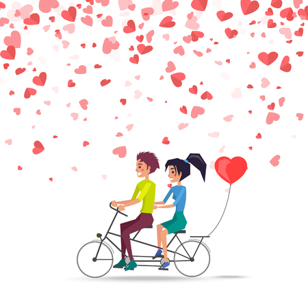 Illustration for Man and woman riding on bike with red balloon of heart shape isolated vector. Happy couple on greeting card, flying symbols of love, romantic dating - Royalty Free Image