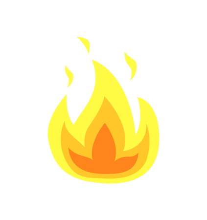 Illustration for Burning flame tongues vector isolated icon. Yellow fire flames, hot campfire or bonfire, realistic flammable heat sparks, blazing flaming explosion of heat - Royalty Free Image