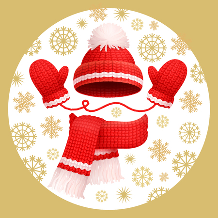 Illustration for Warm 3 pieces set winter red knitted scarf, mittens and hat with pom-pom, vector. Thick woolen accessories, beanie and gloves on snowflakes backdrop - Royalty Free Image