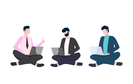 Illustration pour Men in casual clothes sitting cross-legged with laptops. People using and looking at computer, workteam with gadgets, portrait view of workers vector - image libre de droit