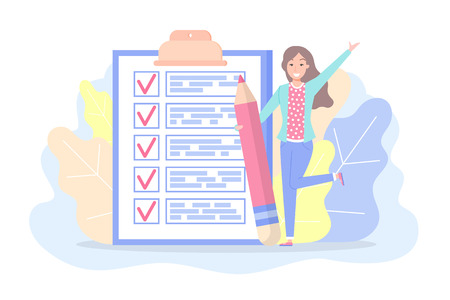 Illustration pour Checklist with marks and text woman planning plan vector. Lady holding big pencil, foliage and frontage. Things to do on paper, page with working tasks in flat style - image libre de droit