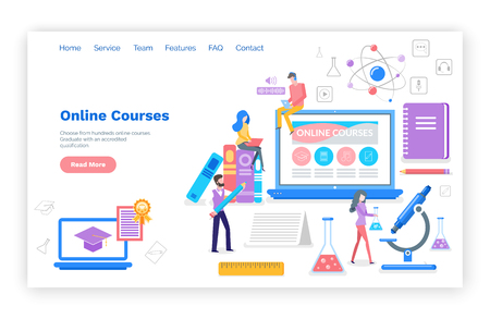Illustrazione per Online courses people learning subjects in internet vector. Students with certificate, busy reading and reviewing material for exams. Microscope and book. Website webpage template landing page in flat - Immagini Royalty Free