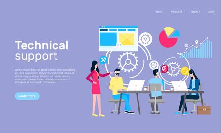 Illustration pour Technical support online web page, Internet shopping vector. - image libre de droit