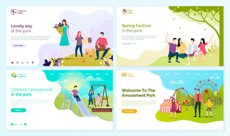 Illustration for Lovely day at park, spring festival, children playground and welcome to amusement festival vector cartoon people web pages, entertainment outdoors. - Royalty Free Image