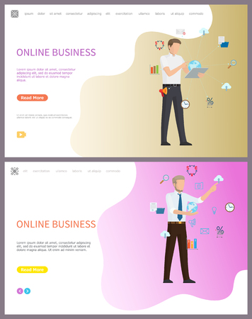 Online business working people, global network vector. Icons of money exchange and data, charts and information in visual representation, computer pc. Website or webpage template landing page in flat