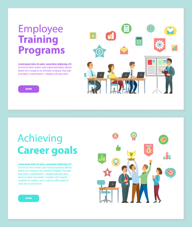 Illustration for Employee training programs and achieving career goals web pages vector. People working with laptop and discussing strategy, workers holding award vector - Royalty Free Image