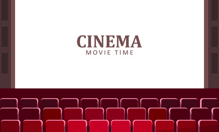 Illustration pour Cinema hall with wide screen and red rows of seats vector. - image libre de droit