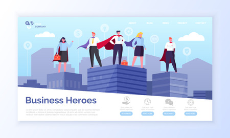 Vektor für Entrepreneurs in hero coats, business heroes webpage vector. - Lizenzfreies Bild