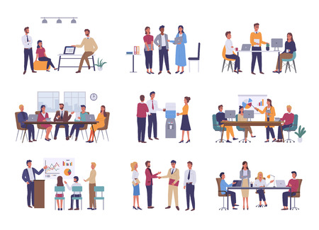 Ilustración de Teamwork or team building, office business meeting vector. Conference and brainstorming, annual report and statistics graphics, discussion and planning in flat style - Imagen libre de derechos