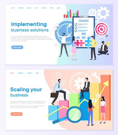 Illustration pour Implementing business solutions and scaling startup success vector. Notepad and target, graphic of financial growth, businessmen and businesswomen. Website or webpage template landing page in flat - image libre de droit