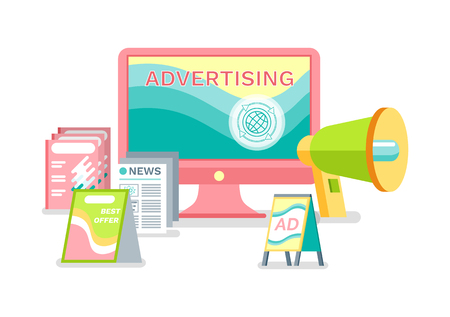 Illustration pour Advertisement in internet vector, ways of business promotion. Printed publications and live broadcasting with help of megaphone, laptop screen monitor - image libre de droit