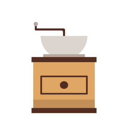 Coffee grinder, mill machine, flat view of manual grinding equipment, brown old-fashioned cafeteria equipment. Object for making drink on white vector