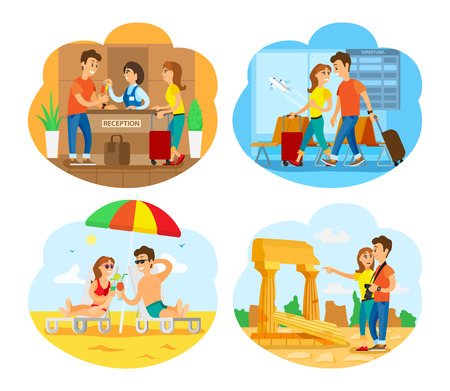 Illustration pour Ruins of old city vector, people traveling together, couple by seaside. Coast with sand and seawater, airport arrivals rush, sightseeing of tourists - image libre de droit