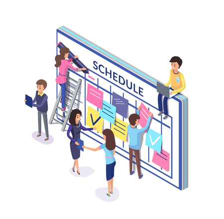 Illustration pour Planning of team, people with schedule and notes sticked to board. Workers organizing time vector. Memos for employees creating timetables on wall - image libre de droit