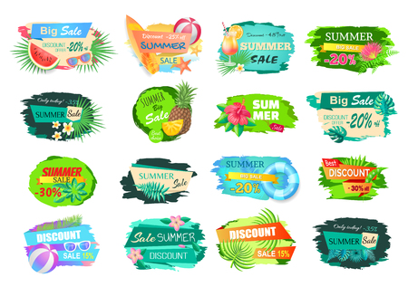 Illustration for Summer big sale banners set. Posters with leaves of trees, cocktails and fruits. Watermelon and pineapple, surfing board and volleyball ball vector - Royalty Free Image