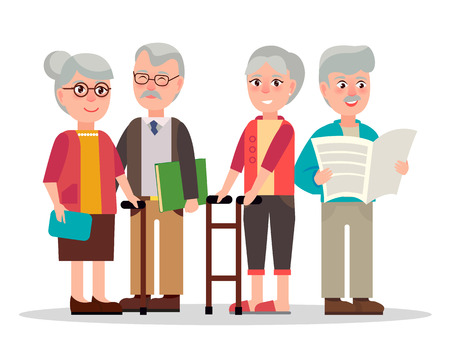 Illustration pour Elderly couples with grey hair, wooden canes, eyesight glasses, book in hardcover and daily newspaper isolated vector illustration. - image libre de droit