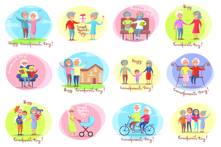 Illustration for Grandparents day set of posters with daily activities of grandmother and grandfather with their grandchildren vector illustration - Royalty Free Image